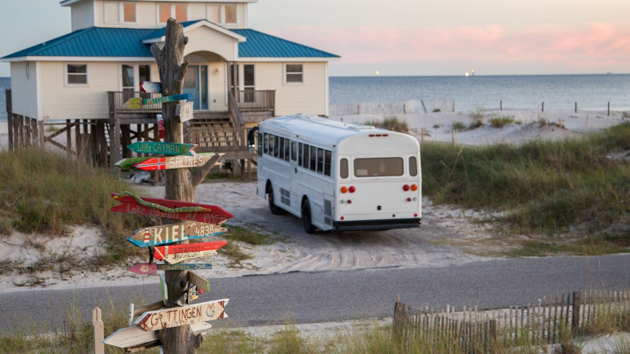 Natural State Nomads - The Bus at Gulf Shores